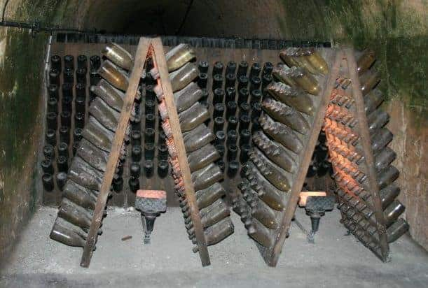 Traditional Riddling Racks used for making Champagne