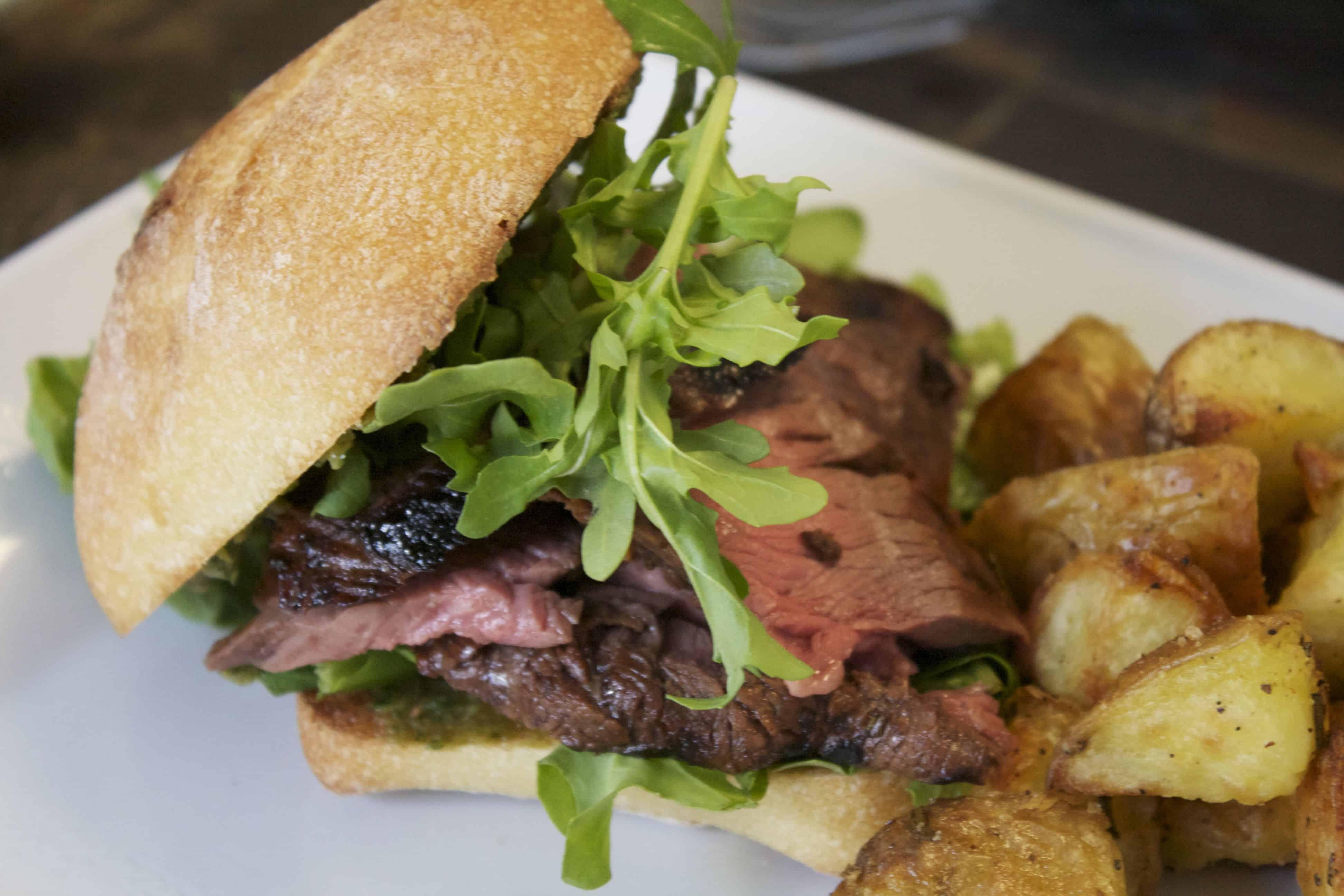 Flank Steak Sandwich with Arugula and Pesto
