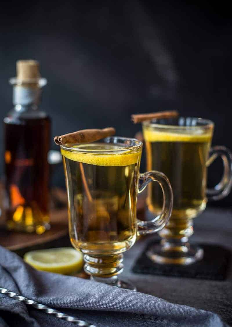 2 Classic Hot Toddy cocktails in a glass
