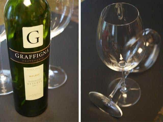 Graffigna Reserve Malbec and Riedel Malbec Glass