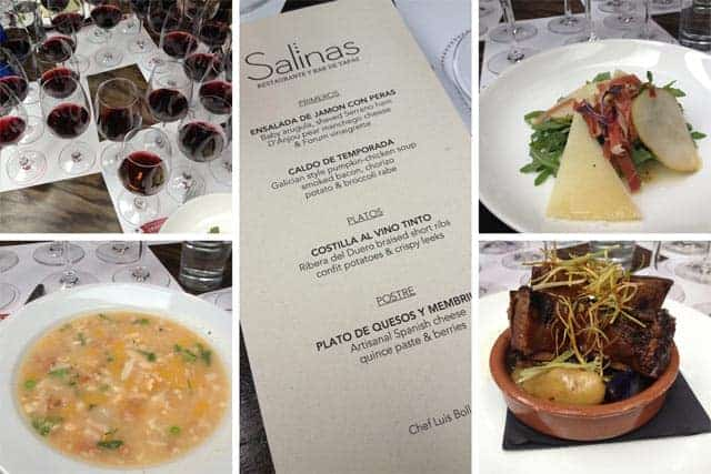 Snooth PVA Ribera del Duero wine and food pairing at Salinas Restaurant