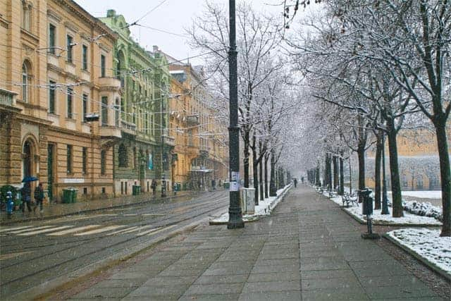 Snowy Streets of Zagreb