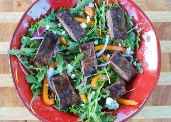 Grilled Marinated Skirt Steak and Arugula Salad