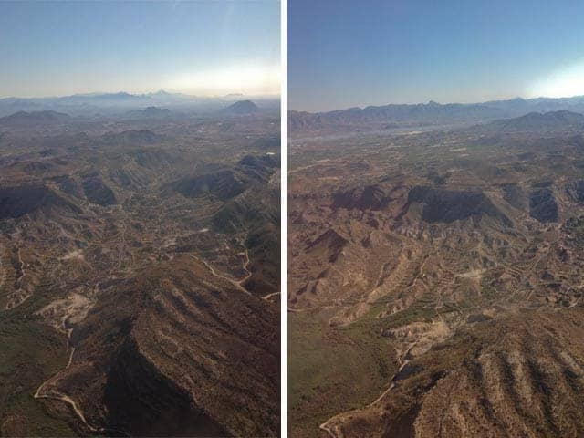 Views of Murcia wine region from airplane
