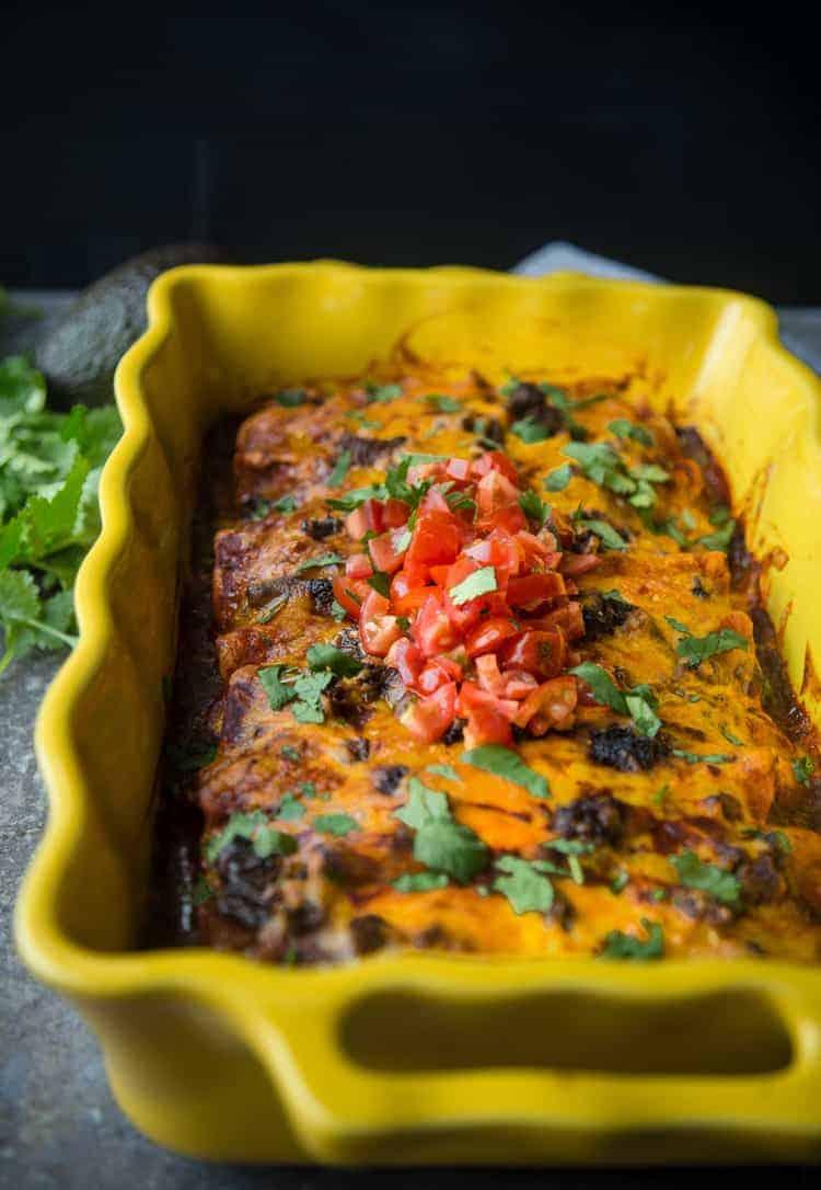 Beef Brisket Enchiladas in a casserole dish
