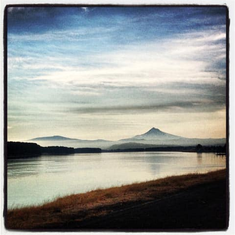 Run along the Columbia River on a clear day
