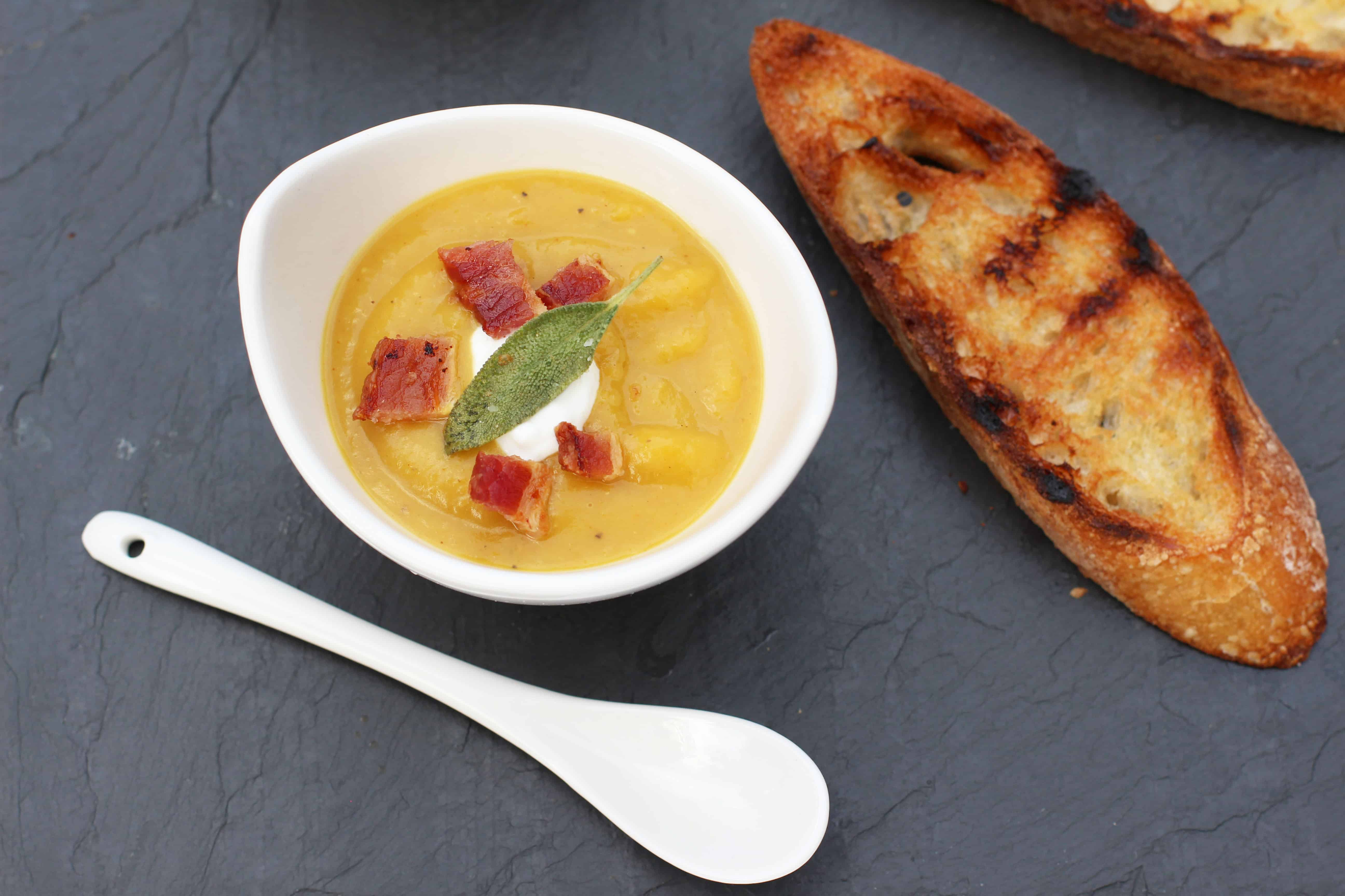 Butternut Squash Soup with Bacon and Sage top shot