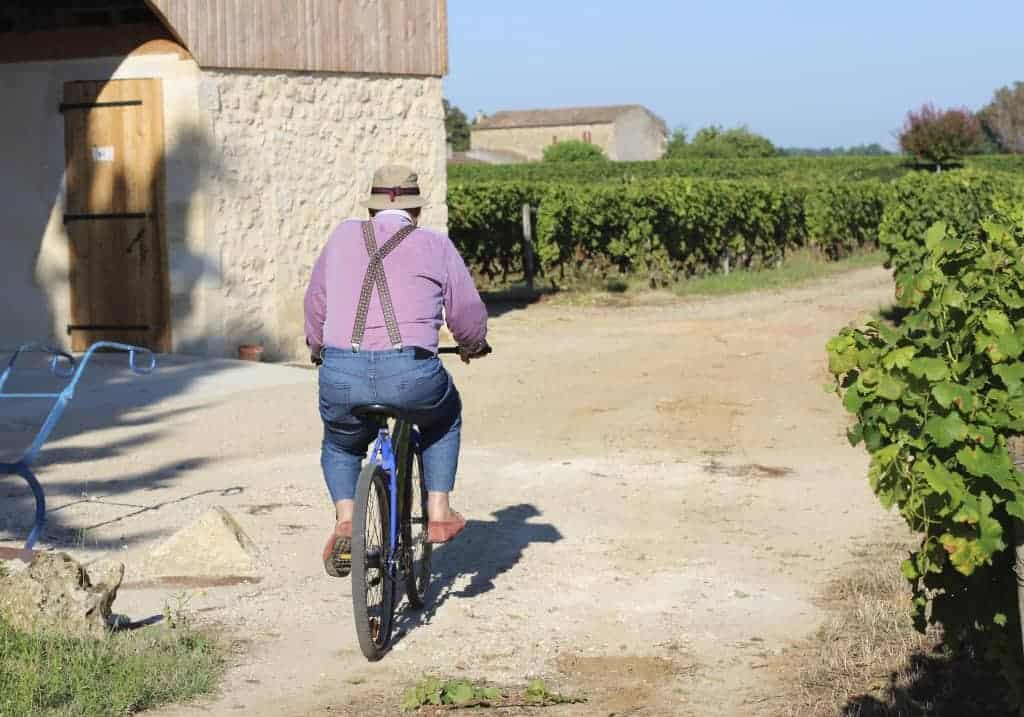 Jean Lalande on bicycle