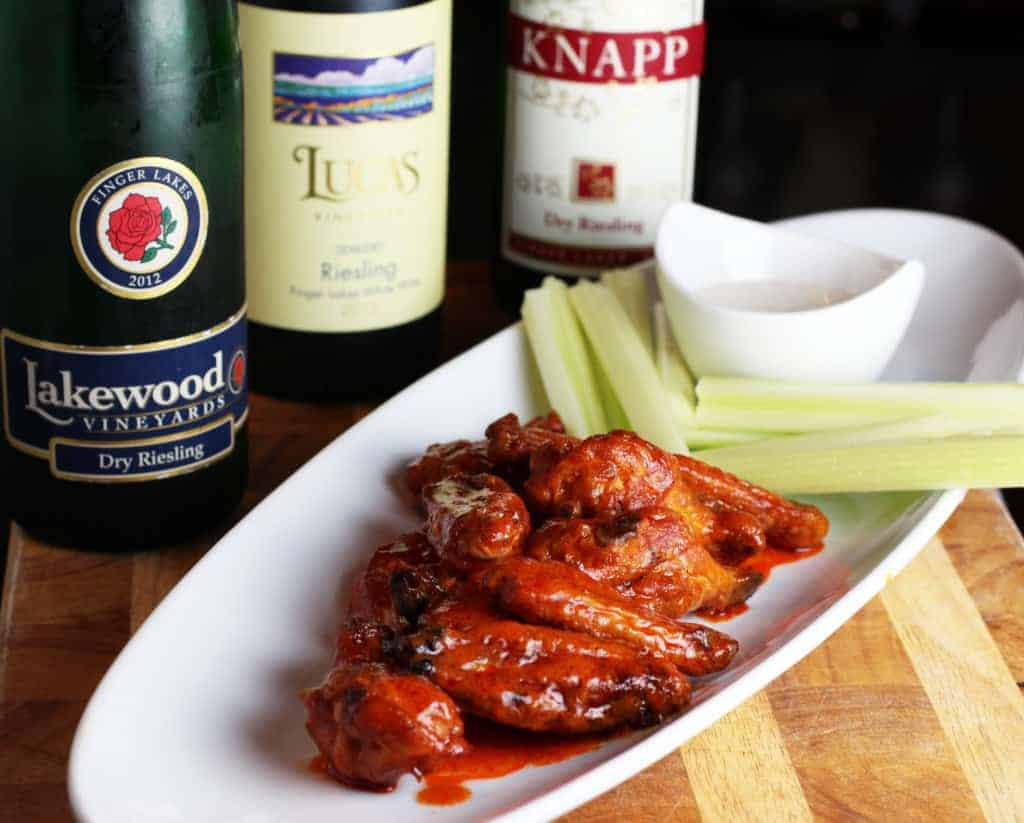 Smoked Buffalo Chicken wings and Finger Lakes Rieslings wine pairing