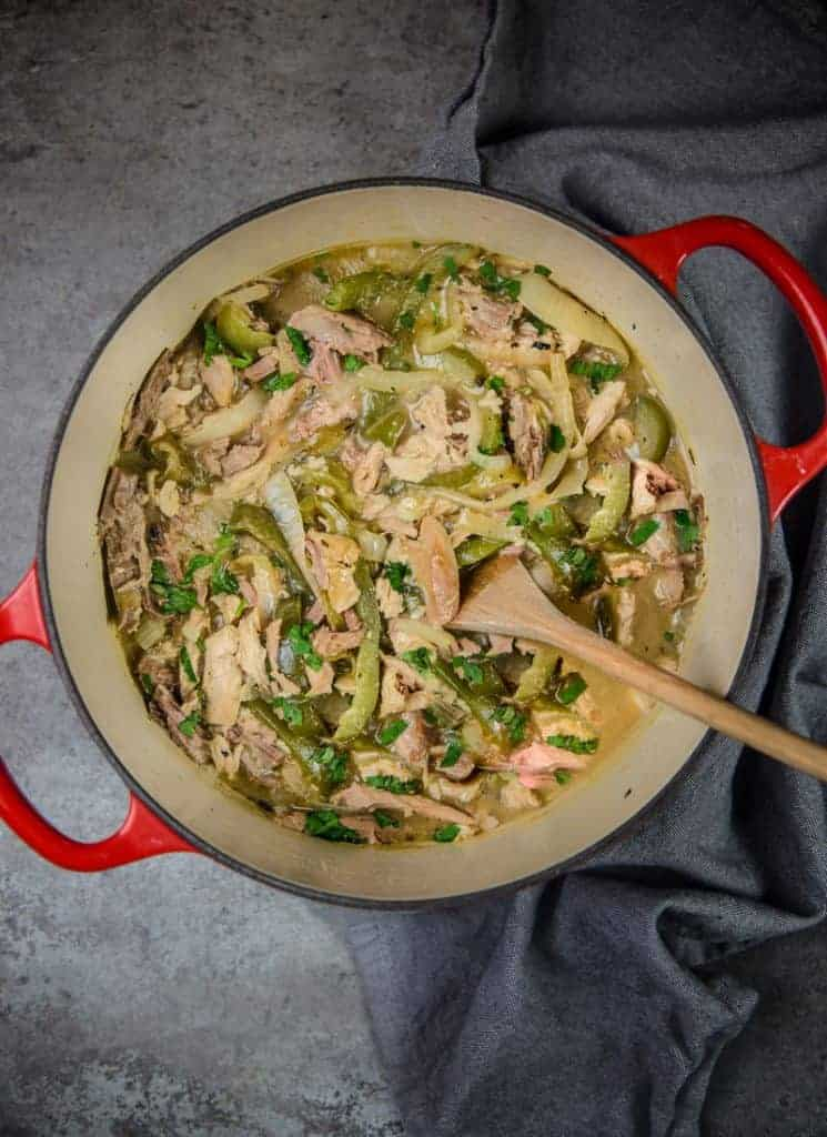 Green Chili Turkey in a large pot