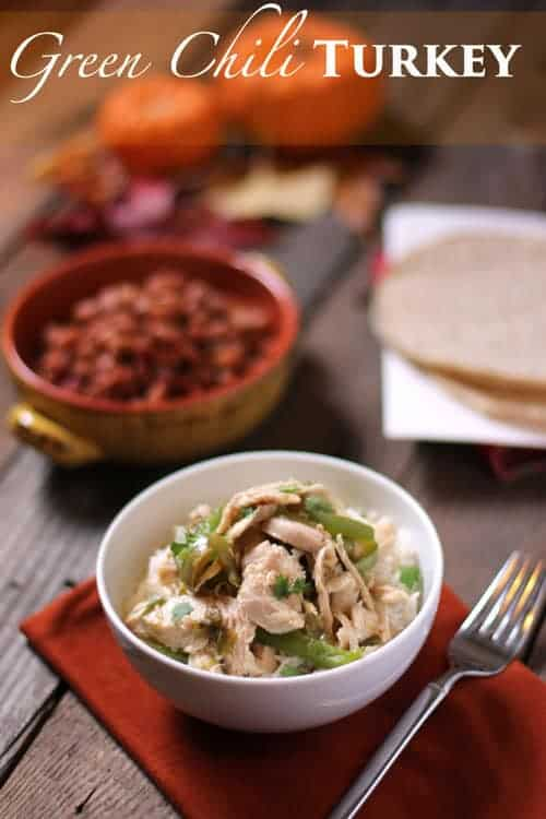 Green Chili Turkey. A delicious use for leftover Thanksgiving turkey. It beats a turkey sandwich any day of the week!