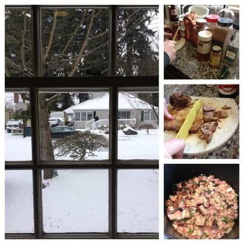 Making-brisket-nachos-in-the-snow