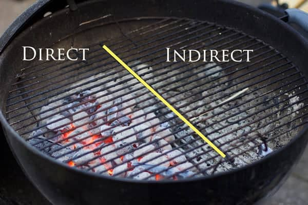 Two-Zone set up on a kettle grill with briquettes.