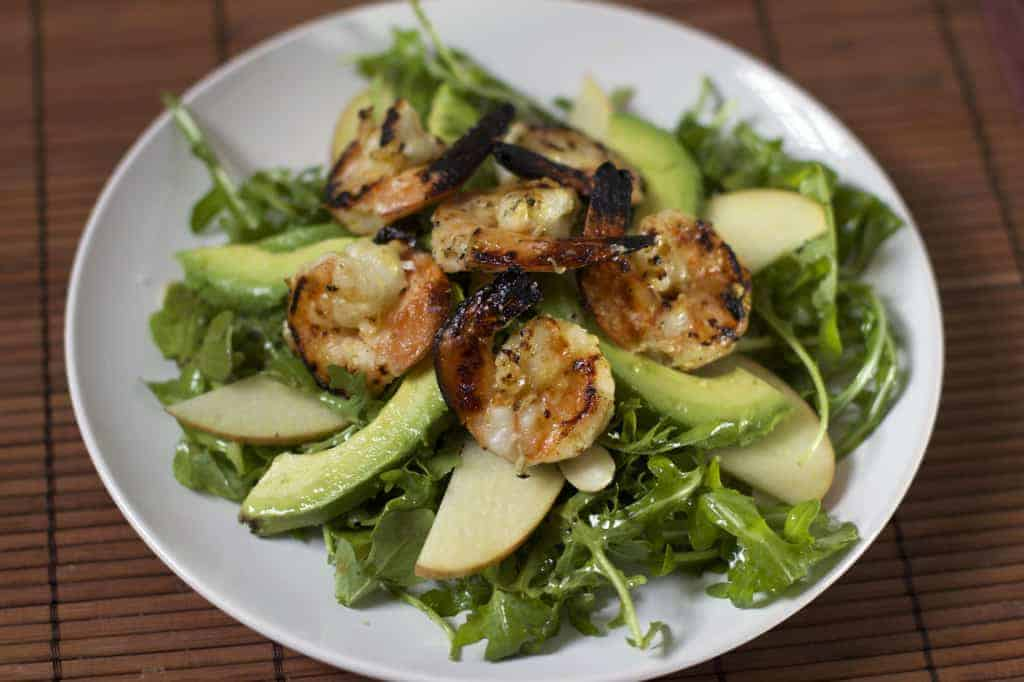 Grilled Shrimp with Avocado, Apple, and Citrus Vinaigrette