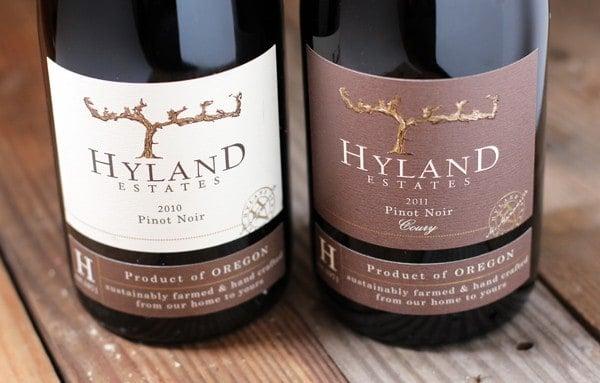 Hyland Estate wines -- 2010 Hyland Estate Pinot Noir and 2011 Hyland Estate, Coury Clone Pinot Noir
