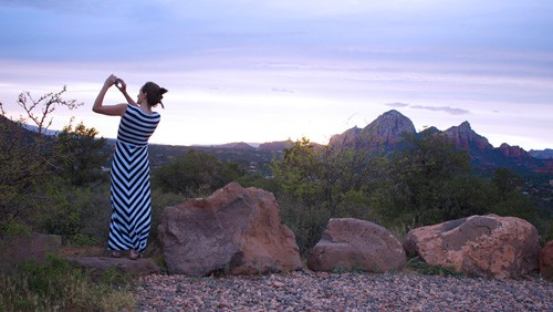 Taking a sunset picture of Sedona for Instagram
