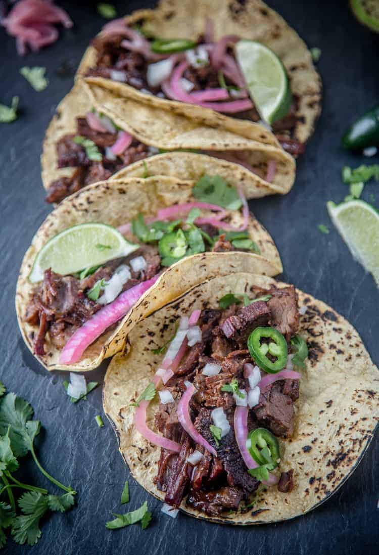 Tacos made with leftover brisket