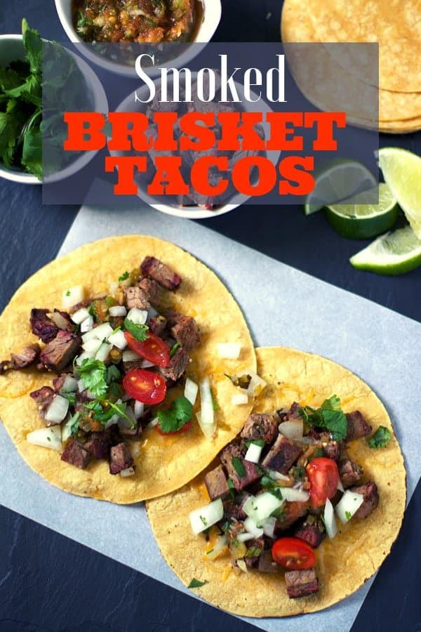 Smoked Beef Brisket Tacos Pin Image