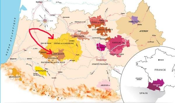 Côtes de Gascogne & Saint Mont on Map of SW France