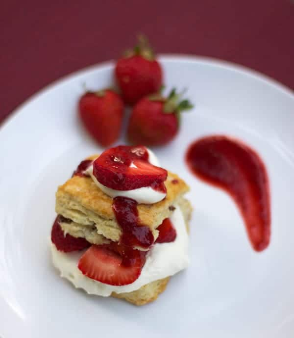Smoked Strawberry Shortcake with Smoked Bacon Biscuits from Vindulgeblog.com