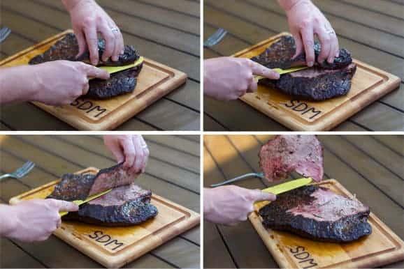how to cut brisket against the grain