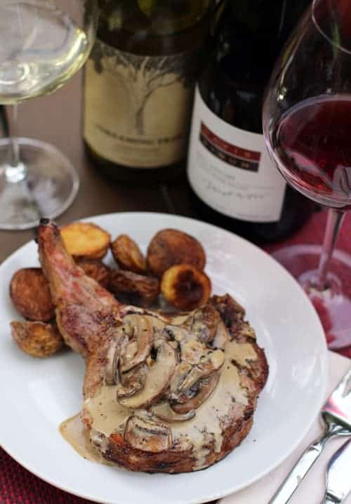 Grilled Pork Chops with Mushroom Sauce on Wine4.Me