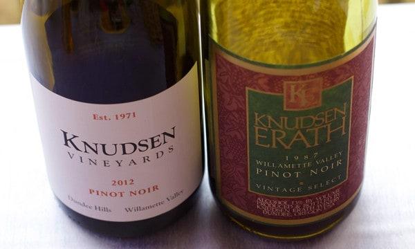 Knudsen Vineyards 2012 Pinot Noir side by side with 1987 Knudsen Erath