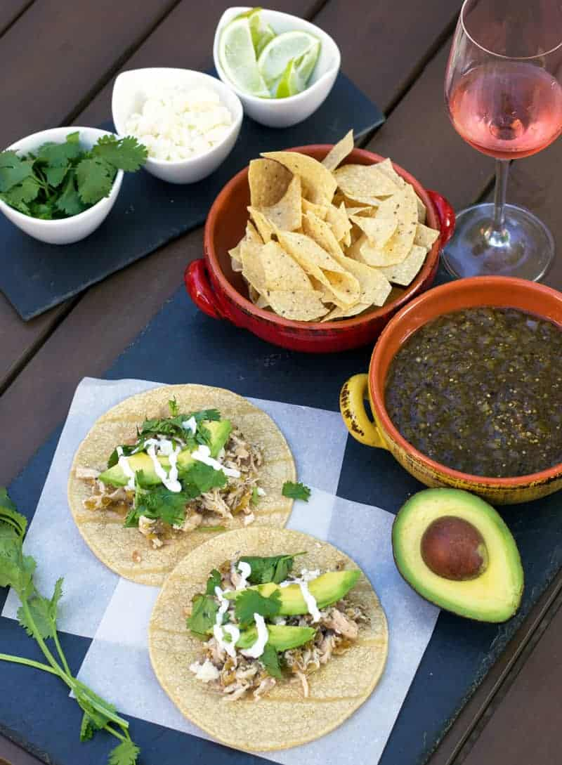 Easy Salsa Verde Chicken Tacos and Wine Pairing