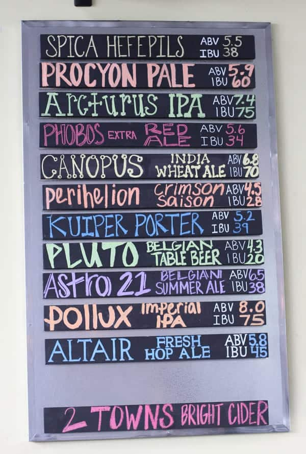 Beer list at Ecliptic Brewing