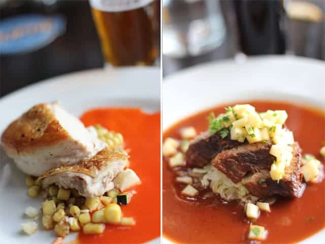 Pan-Roasted Chicken, with roasted corn, zucchini, cotija, red pepper ...