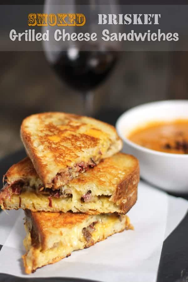 Smoked Brisket Grilled Cheese Sandwiches, recipe and wine pairing from vindulgeblog.com