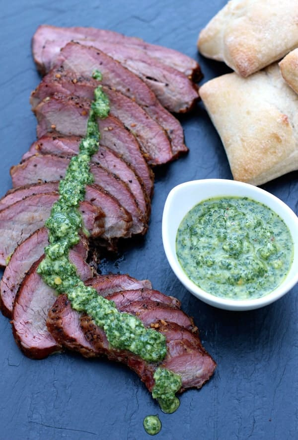 Smoked Tri-Tip with Chimichurri-Sauce perfect for a tri tip sandwich