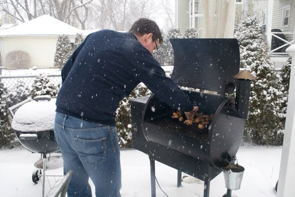 Smoking wings during a blizzard