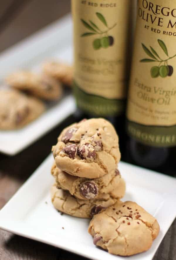 EVOO Chocolate Chip Cookies made with Oregon Olive Mill olive oil (butter free)