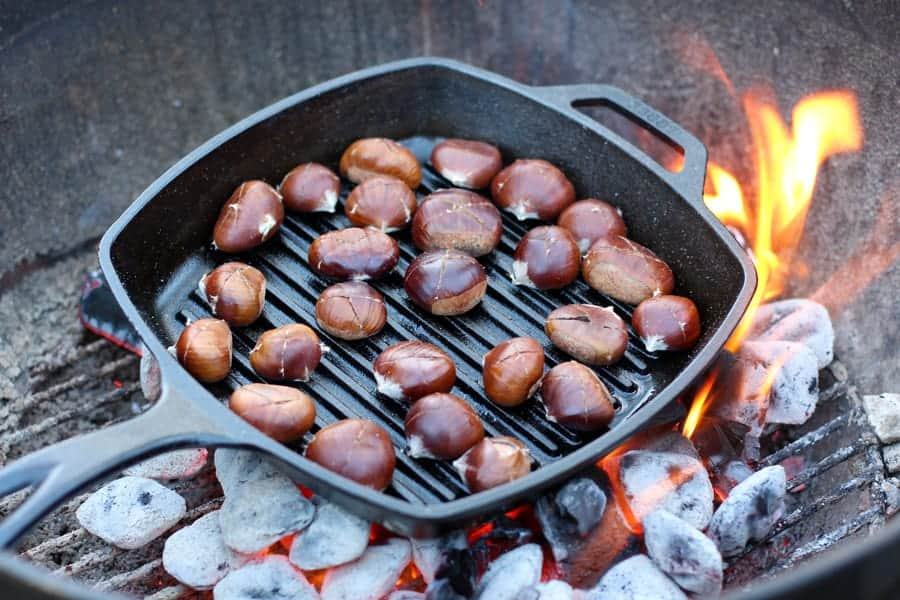 Roasting Chestnuts on a Weber Grill