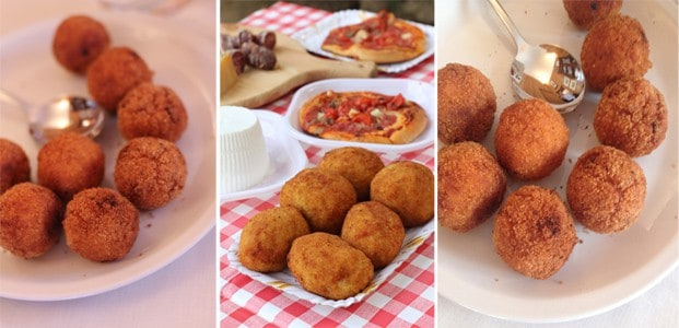 different images of Arancini di Riso in Sicily Italy
