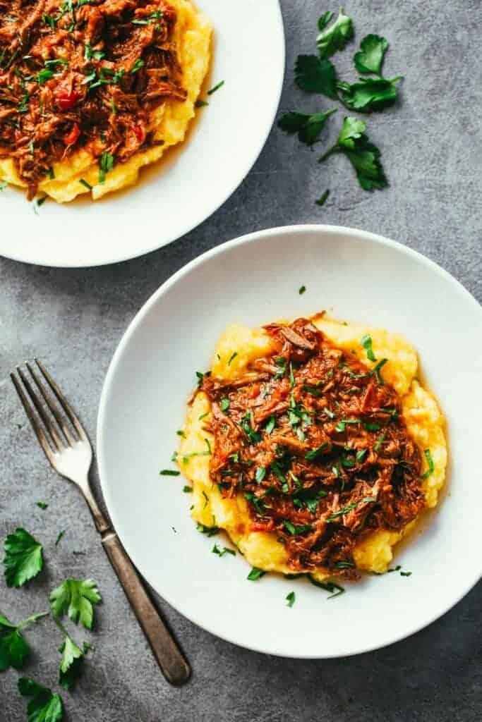 slow cooker beef ragu over polenta