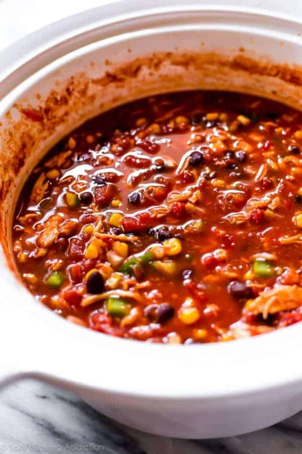 chicken chili in a slow cooker