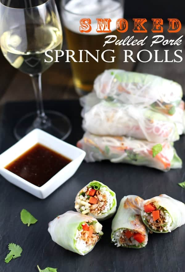 Smoked Pulled Pork Spring Rolls from vindulgeblog.com