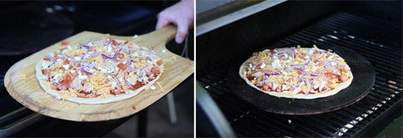 Cooking a pizza on a pizza stone on a smoker