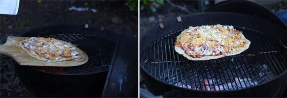 Grilling a bbq chicken pizza ove -the grill