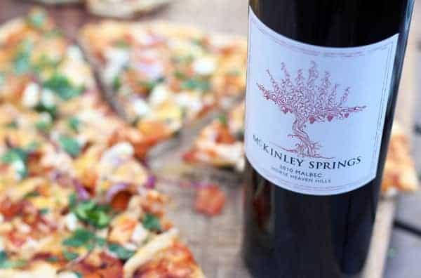 McKinley Springs Malbec and BBQ Chicken Pizza