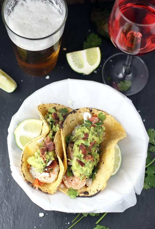 Grilled Shrimp Tacos with Smoked Bacon and Tomatillo Guacamole