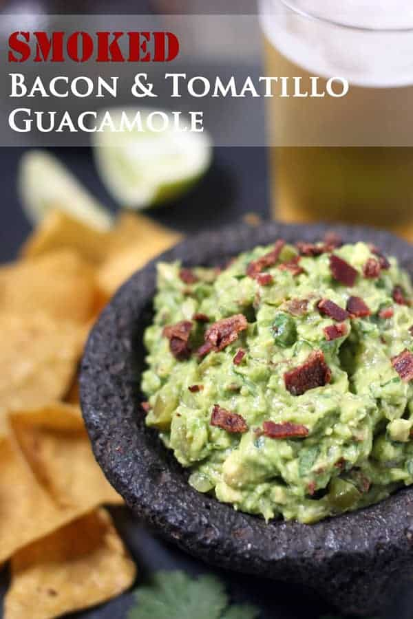 Smoked Bacon & Tomatillo Guacamole in a stone bowl with tortilla chips