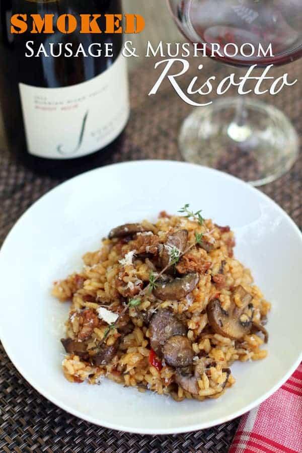 Smoked Sausage and Mushroom Risotto and Wine Pairing | vindulgeblog.com