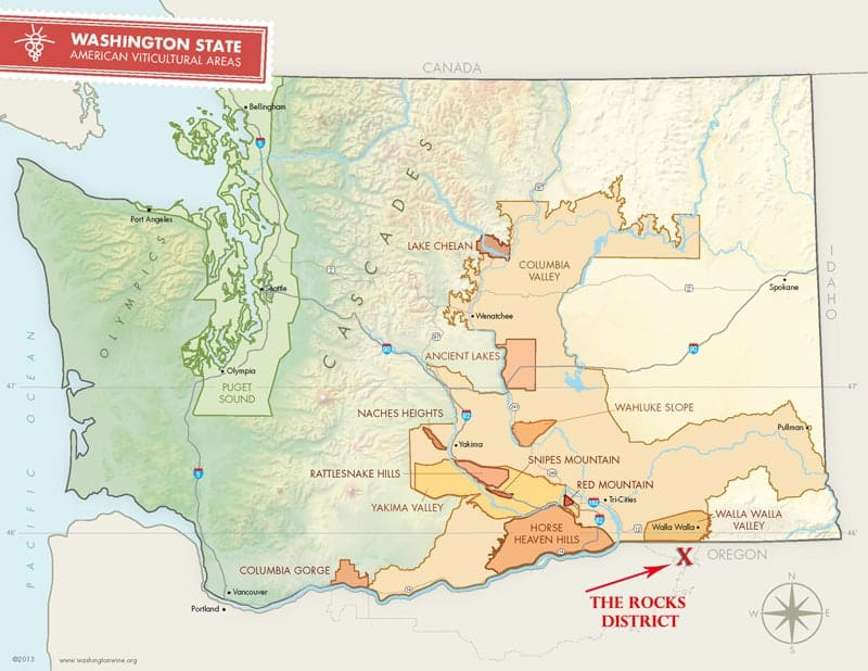 Washington Wine Region Map with The Rocks District AVA
