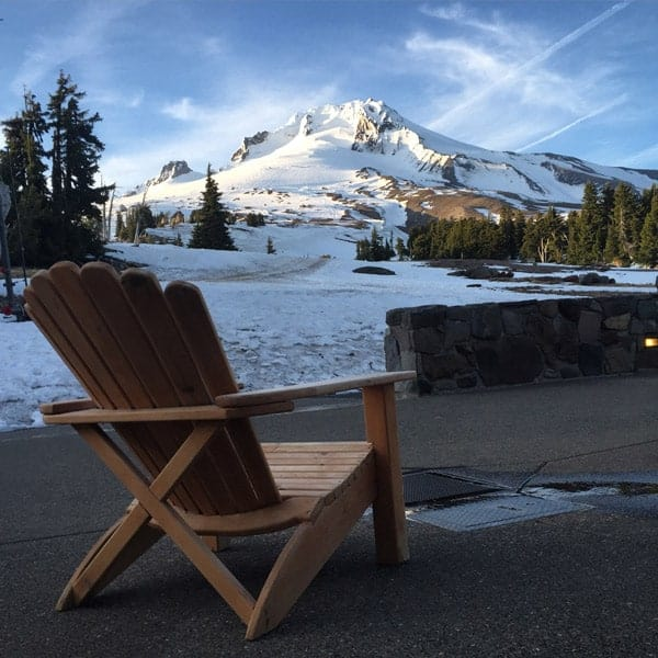 Patio at Timberline Lodge overlooking Mt. Hood
