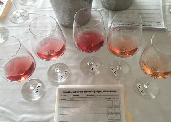 Judging a Rosé flight at the 2015 Northwest Wine Summit.