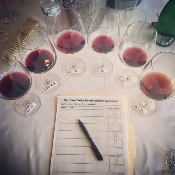 Northwest Wine Summit wine competition 2015. Red wine flight.