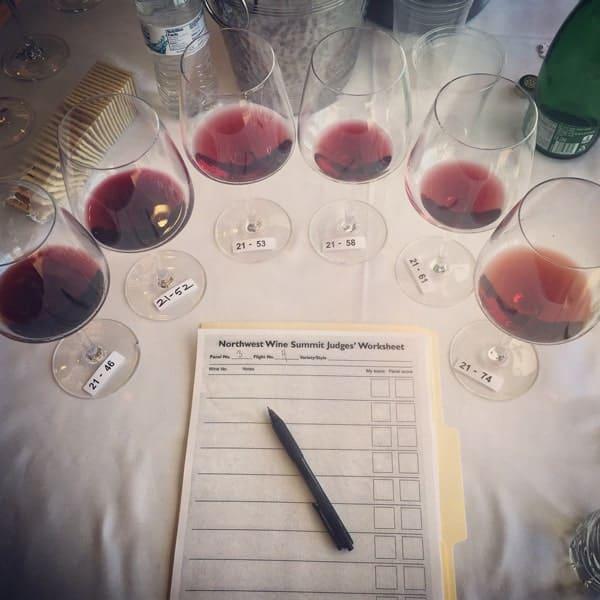 Northwest Wine Summit wine competition 2015. Red wine flight.